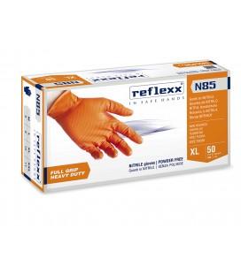 GUANTI IN NITRILE SENZA POLVERE FULL GRIP REFLEXX  N85 ARANCIONE   – gr. 8,4 PZ. 50 ULTRA RESISTENTE
