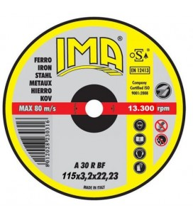 Dischi da taglio a centro piano e depresso su macchine portatili Ferro IMA 115X3,2X22,23